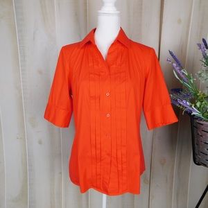 Lafayette 148 Orange Button Down Career Blouse